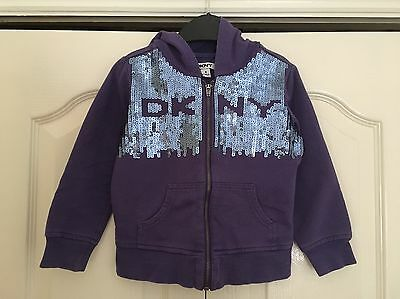 Girl's Purple DKNY Hoodie, Hooded Top with Sequins Logo, Age 4 Years, Cute!