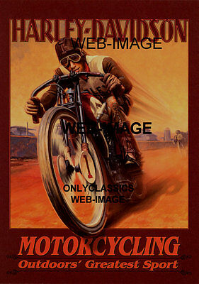 Harley Davidson Racing Motorcycle Graphic Art Poster Dirt Track Racer Glory Days