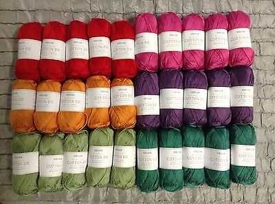 Sirdar COTTON DOUBLE KNITTING Yarn Knitting Crochet 7 X 100g Balls 9 Shades BN