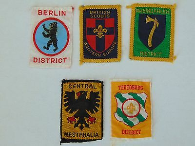 MIXED LOT 5 x VINTAGE WESTERN EUROPE BOY SCOUTS CLOTH PATCHES / BADGES