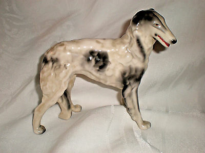 """Porcelain standing BORZOI RUSSIAN WOLFHOUND black & white statue 5 1/2"""" h """"1127"""""""