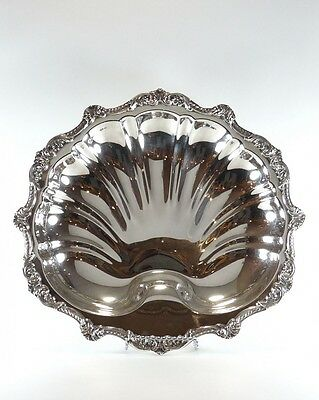 Large Antique Shell / Oyster Shaped footed Silverplate Tray by POOLE