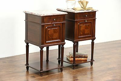 Pair French Marble Top 1910 Antique Mahogany Nightstands