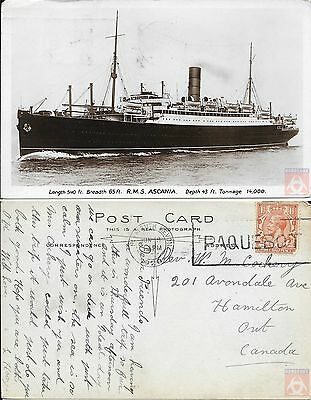 Angleterre - PAQUEBOT - ASCANIA - Posted at Sea 1928 - Plymouth Devon