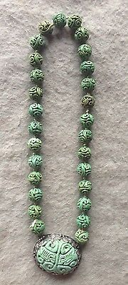 19th Century Chinese Export Silver signed CHÜ Hand Carved Nephrite Jade Necklace