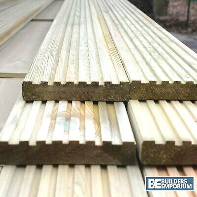 Treated Timber Decking Boards 32x150mm 3.6M Long FINISHED Premium Grade Natural