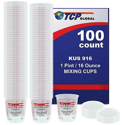 16-Ounce (1 Pint) Paint & Epoxy Mixing Cup Calibrated Ratios - 100 Cups/12 Lids