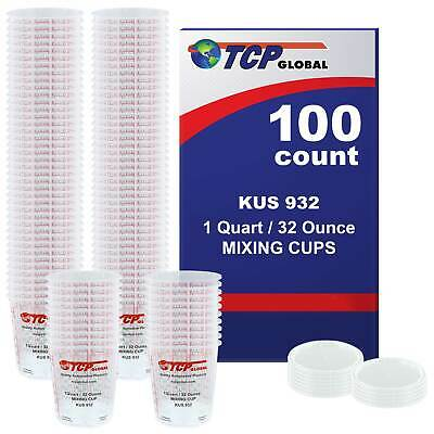 32-Ounce (1 Quart) Paint & Epoxy Mixing Cup Calibrated Ratios - 100 Cups/12 Lids