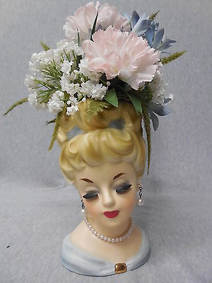 Vintage Rubens Lady Headvase Blonde Pearl Necklace & Earrings & Flowers j416