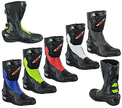 Motorbike Motorcycle Genuine Leather Waterproof Track Boots Armours Shoes New