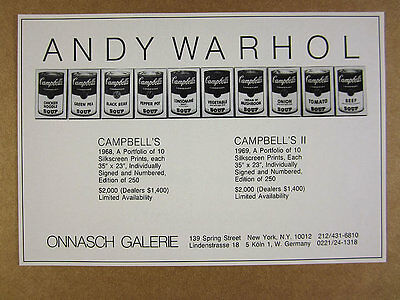 1974 Andy Warhol Campbell's Soup prints NYC Gallery vintage print Ad