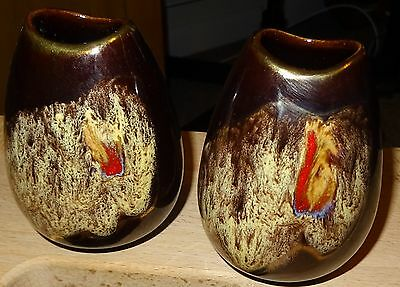 Vintage Pair of German Pottery Small Vases
