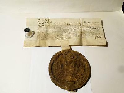 Antique 1598 Elizabeth I Great Seal Document CASTLETHORPE Earl Yarborough #T679