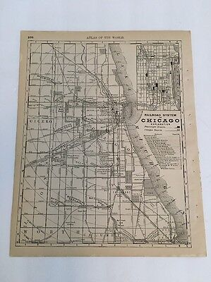Antique Map, Railroad System of Chicago, 1890 Rand McNally New Standard Atlas of