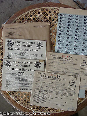 Lot WWII Home Front War Ration Books No. 1 & 3 w/ coupons World War II