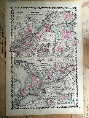 1862 Original Map of Upper and Lower Canada , Johnson and Ward