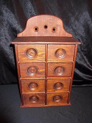 Primitive Antique 8 Drawer Wood Spice Apothecary Cabinet***SEE PICS****