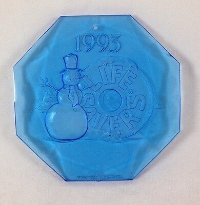 "1993 Life Savers Holiday Ornament 3"" Blue Snowman Nabisco Candy Promo Ad Premium"