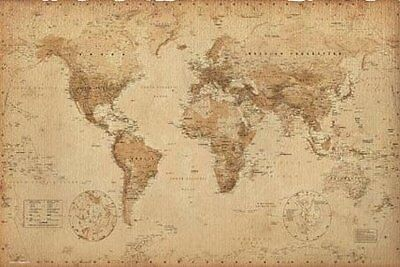 New Antique Style Map Geographical World Map Poster