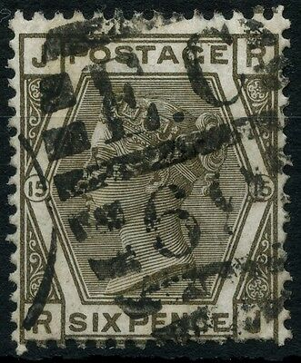 SG 147 GB QV 6d Grey Plate 15 Used (Ref: A533)