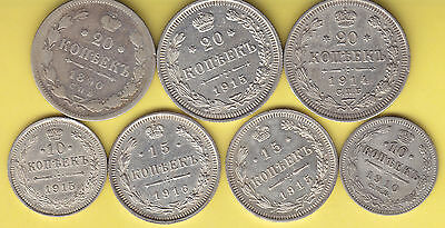 Russia  nice lot of 7 old Silver Kopeks...........................141