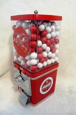 """vintage gumball machine Coca cola + red & white 1"""" gumball free shipping"""