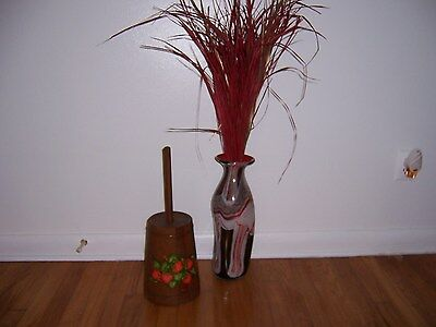 L@@k!~Decorative Wooden Butter Churn~With Strawberries~Country~Primitive~Rustic!
