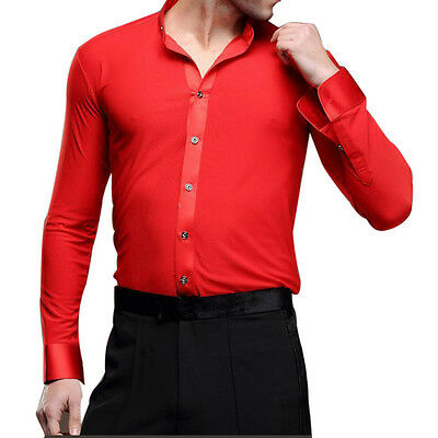Mens Professional Dancewear Ballroom Latin Dance Shirt Samba Tango Stage Costume