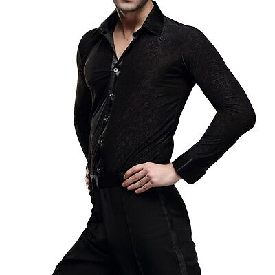 Mens Stage Dancewear Latin Ballroom Dance Shirt Jazz Modern Professional Costume