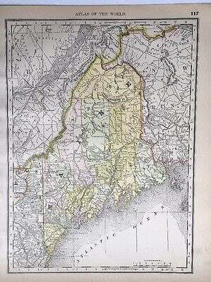 Antique Map of Maine, Vermont & New Hampshire, 1890 Rand McNally