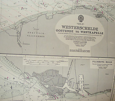 Vintage 1974 Oostende To Westkapelle Chart Admiralty/ Maritime Chart / Map 325