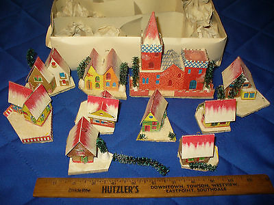 Italian Christmas Miniature Lights 10 Paper Houses Vintage 1950's Ornaments
