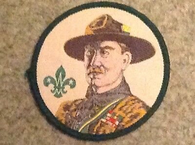 Scout badge Baden Powell head with a green edging
