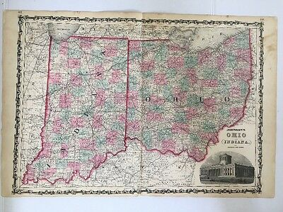 1862 Antique Original Map of Ohio and Indiana, Johnson and Ward