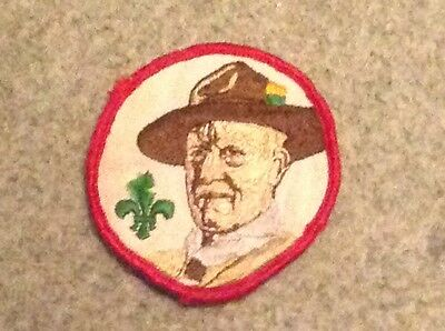 Scout badge Baden Powells head with Red edging