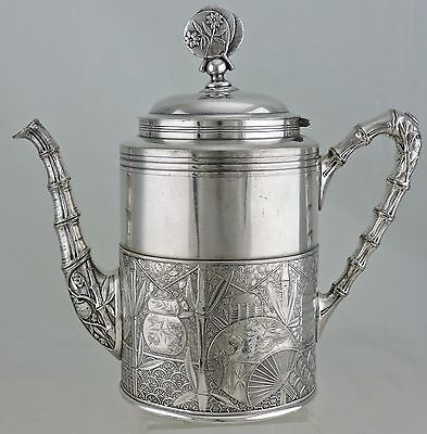 Antique Silver Plate Tea Coffee Pot Chinese/japanese/bamboo Pattern Pairpoint B