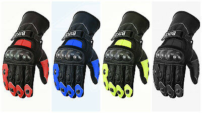 Motorbike Motorcycle Real Leather Mens Protective Knuckles Racing Sports Gloves