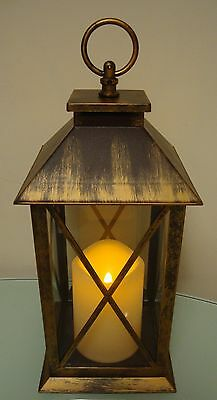 Large Indoor Outdoor Led Flickering Flame Lantern Battery Operated New