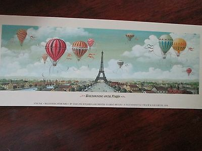"""~Ballooning Over Paris France Eiffel Tower Print French Decor  10"""" x 4"""" New"""