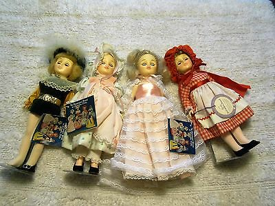 (4) EFFANBEE STORY BOOK DOLLS w/ ORIGINAL OUTFITS & HANG TAGS + 3 STANDS ~