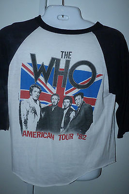 Vintage THE WHO 1982 American Tour T Shirt Concert Retro Ringer Tee Schlitz