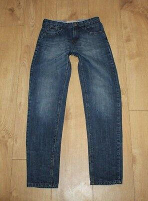 Blue Denim RIVER ISLAND Zip Slim Tapered Stonewashed Boy's Jeans Size 11yrs L 28