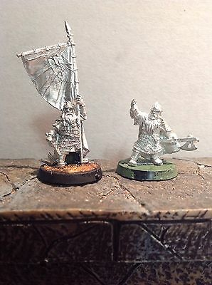 Lord Of The Rings Dwarf Command Squad 2 Metal Figures Warhammer