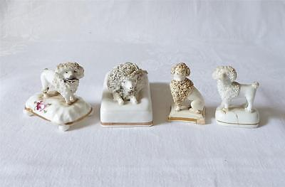 Four Early 19Th C Small Staffordshire Poodles