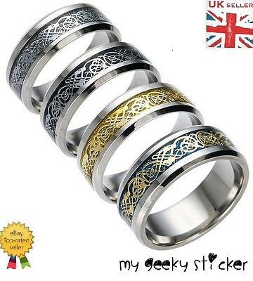 Mens Women Ring Tungsten Carbide Gold Dragon Engagement Wedding Anniversary Band