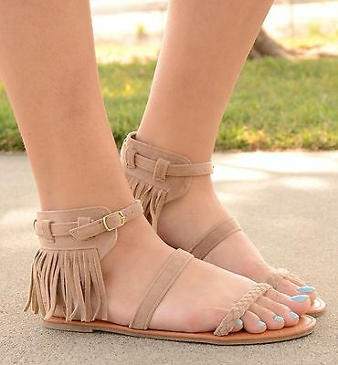 98b862b7e Womens Gladiator Sandals Fringe Strappy Braided Flat Faux Suede Black or  Taupe