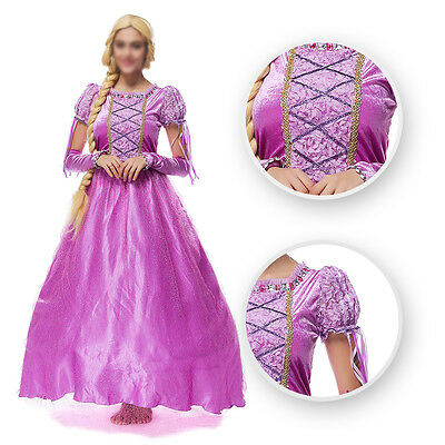 Women Tangled Rapunzel Cosplay Costume Princess Fairytale Adult Dress Ball GownF