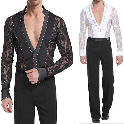 Mens Dancewear Set Latin Ballroom Dance Costume Rhythm Salsa Hollow Shirt+Pants