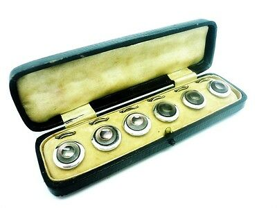 Art Deco Buttons Studs, Set of 6, Cased, White Metal, Glass, Cased, c.1930's