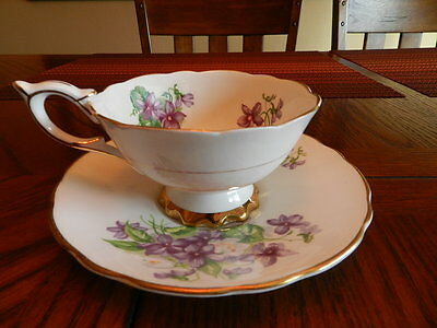 Royal Stafford Cup & Saucer Purple Flowers Gold Trim England